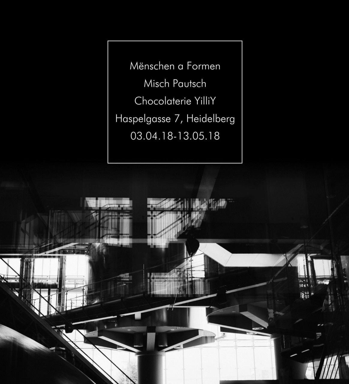 Flyer der Ausstellung von Misch Pautsch in der Chocolaterie yilliy von 03.04.-13.05.2018