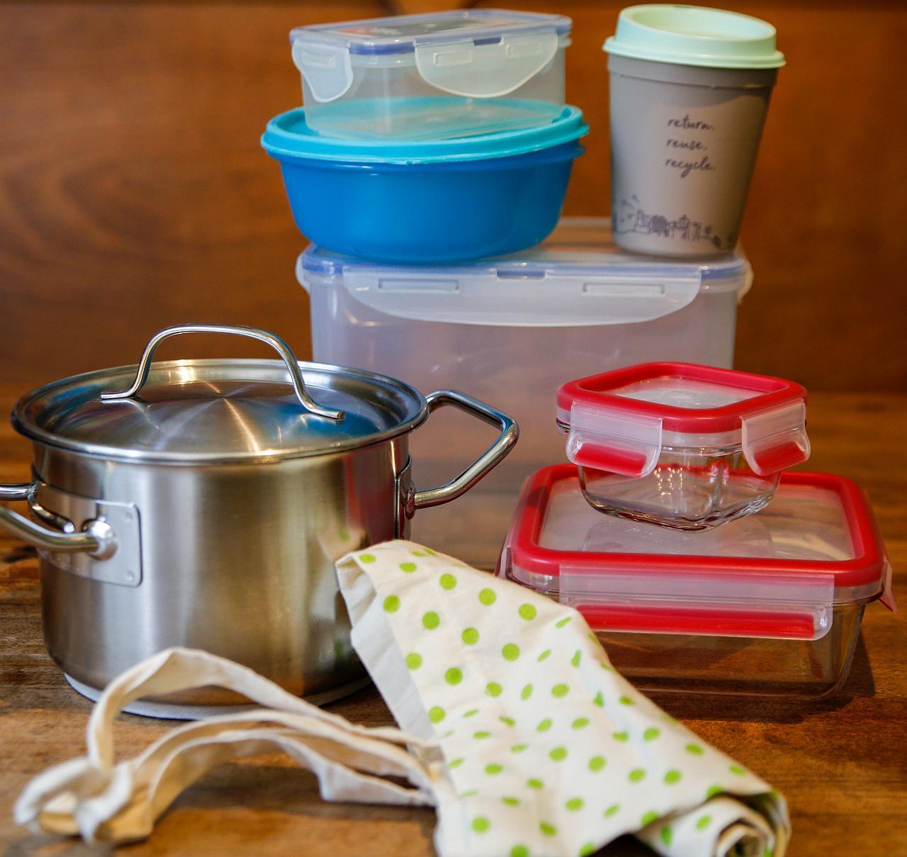 ToGo: Becher, Dose, Glasbox, Tasche, Topf, wiederverwendbar. Foto: Valentin Bachem